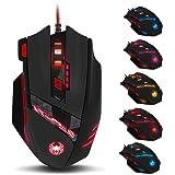 Zelotes 9200 DPI Ratón Gaming , 8 botones diseño, ajuste de peso Set, 6 LED colores cambiantes, alta precisión Wired Mouse ratón para gamer pc mac