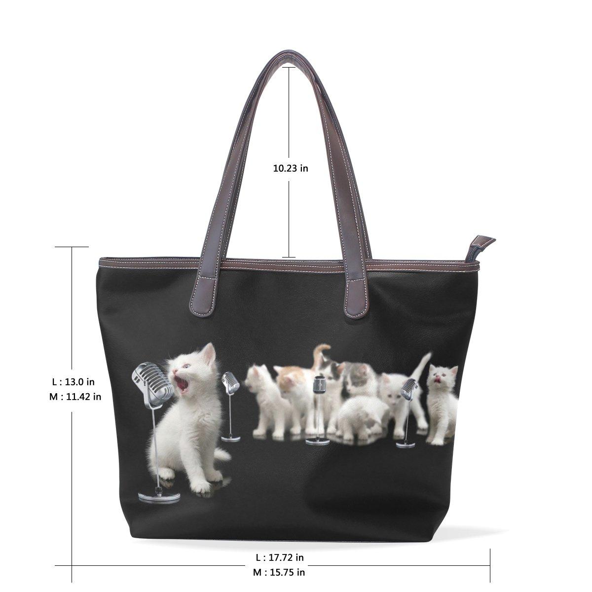 Mr.Weng Household Songs Cats Lady Handbag Tote Bag Zipper Shoulder Bag