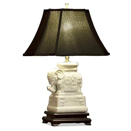 Amazon.com: Lámpara de elefante de cerámica w/Sombra de la ...