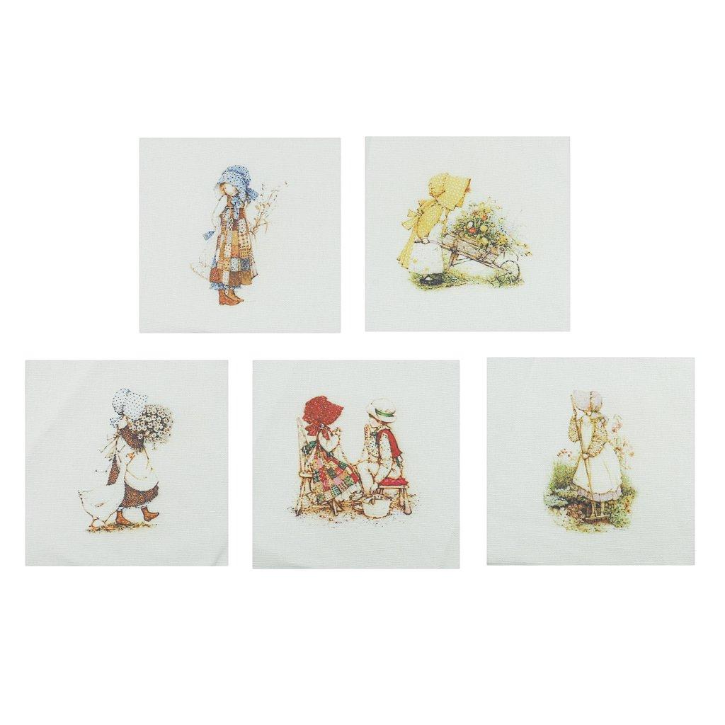 Gazechimp 4//5 Pedazos Tela de Algod/ón Te/ñidos a Mano Impresa Coser DIY Patchwork 4pcs# 5