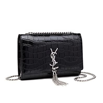 Fashion New Style of Summer 2018 Genuine Leather Tassels Chain Crossbody  Women Bag (Crocodile Black)  Handbags  Amazon.com 8f72cf0bb7