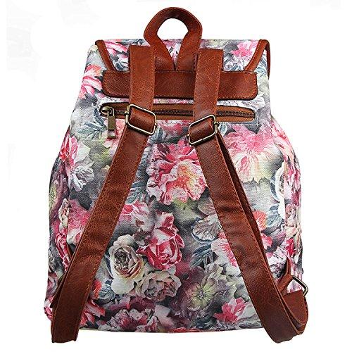 FL1 Retro Xidan Canvas Floral Backpack Bag Travel Printed Rose Shoulder Leisure qZqr5dw