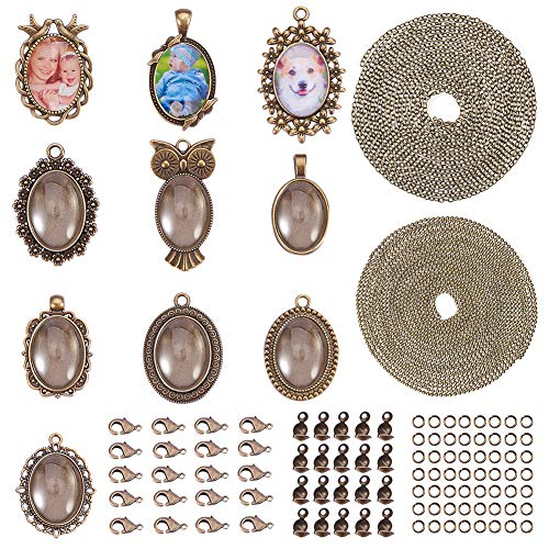 SUNNYCLUE DIY 10 Set Pendant Tray Kit - Oval Pendant Bezel Blanks with 25x18mm Oval Glass Cabochon Clear Dome,2 Style Chain & Lobster Claw Clasps for Photo DIY Craft Jewelry Making, Nickel Free