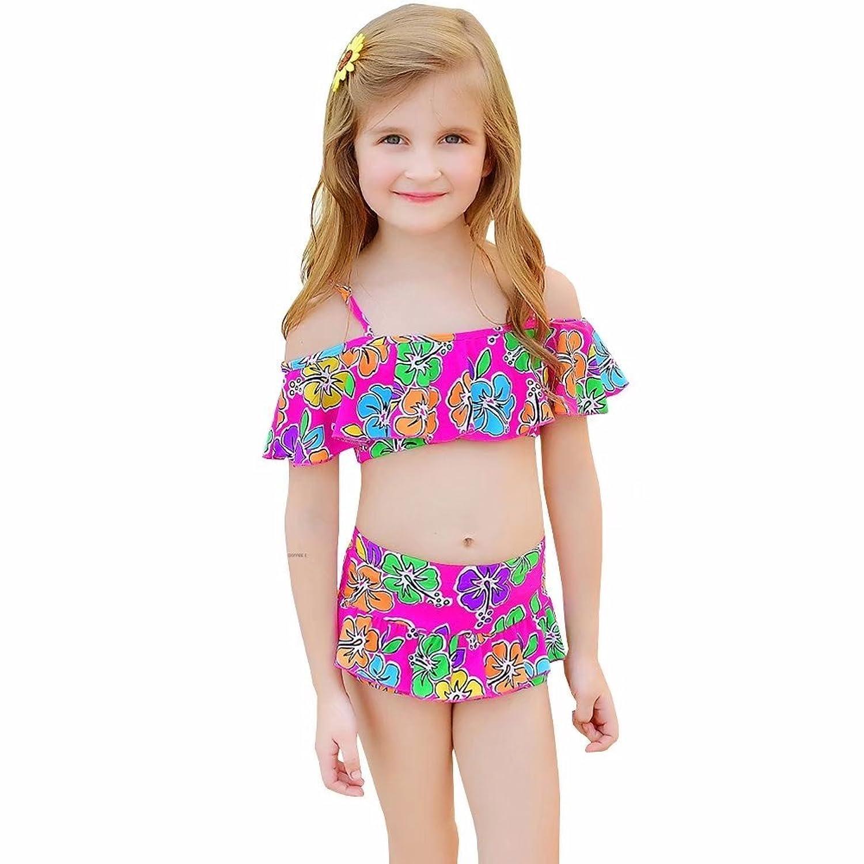 Bikini Factory Little Girls' 2 Piece Off Shoulder Ruffled Bikini Set Bathing Suit