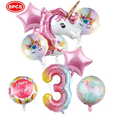 "43"" Unicorn Balloons- Pack of 8, Large Pink Unicorn Mylar Balloon for 3rd Birthday Balloon Bouquet Decorations, Unicorn Theme Party Supplies, Baby Shower, Home Office Decor, Birthday Backdrop: Health & Personal Care"