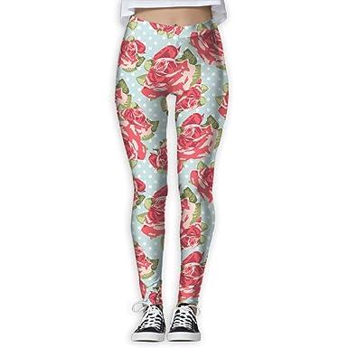 0101753798482 Girl Yoga Pant Chinese Red Rose Peony Cartoon Pattern High Waist Fitness  Workout Leggings Pants