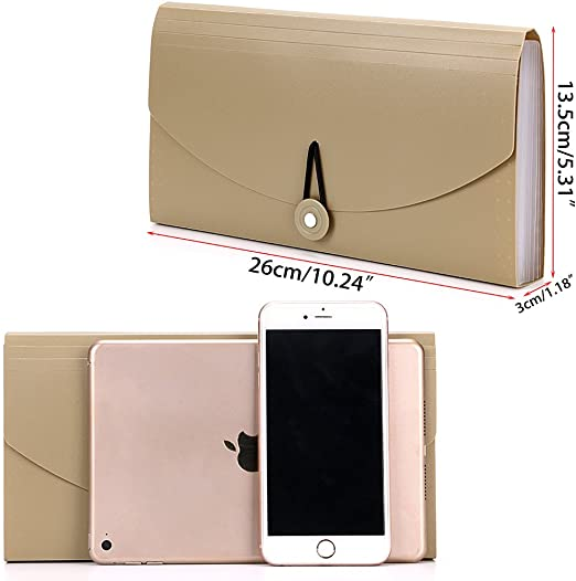 Beige OwnMy 13 Pockets Small Wallet Expanding File Folder Mini Expandable Accordion Folder Organizer with Tabs Organizer for Receipts Coupons and Tickets