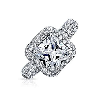 ac276dff1d Image Unavailable. Image not available for. Color: 2.17CT 4 Prong Princess  Cut Square Promise CZ Pave Cubic Zirconia Engagement Ring Wedding 925