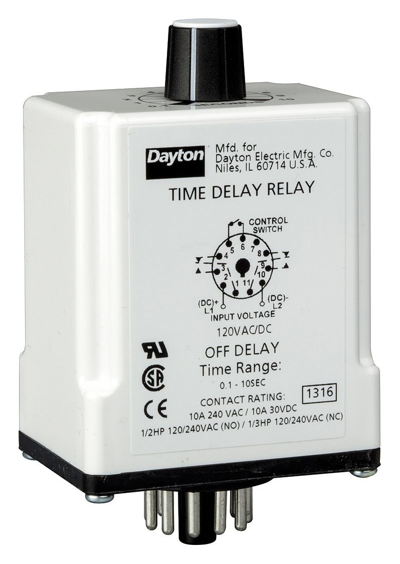 Dayton 1EGC6 Relay, Time Delay, DPDT, Off Delay, 11Pin