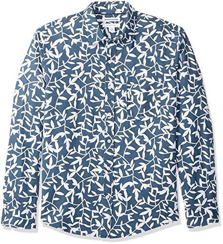 Amazon Essentials Mens Regular-Fit Long-Sleeve Linen Cotton Pattern Shirt