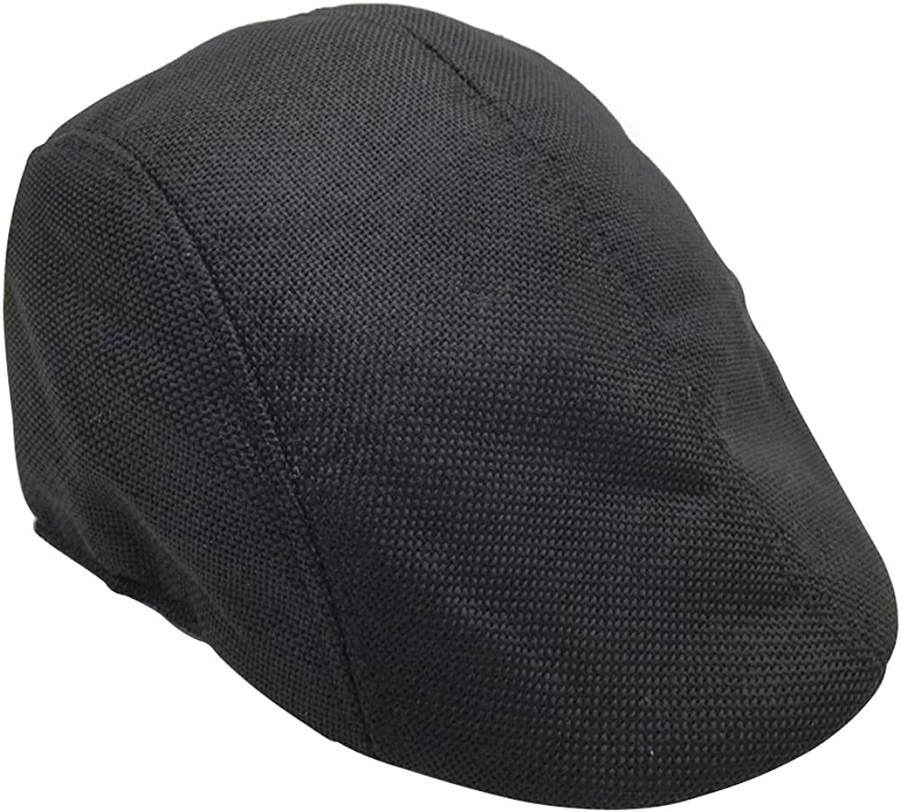 Black Mens Womens Flax Beret Cap Newsboy Flax Sunscreen Hat Cabbie Driving Hat British Style Peaked Cap