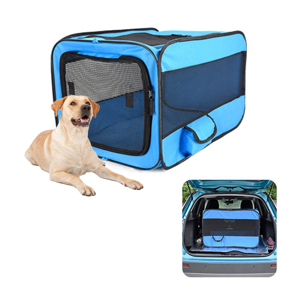 PetEnjoy Pet Carrier Crates Portable Expandable Soft Sided Kennel Car Seat Animal Travel Bag Carrier with Mesh Top Pop Up Cage for Dogs and Cats (M) by PetEnjoy
