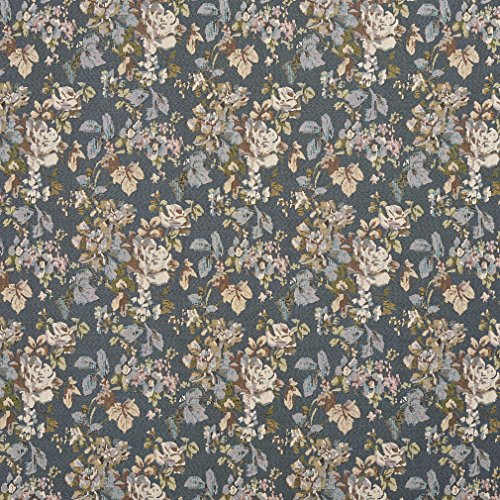 H864 Blue Ivory and Green Floral Bouquet Tapestry Upholstery Fabric by The Yard
