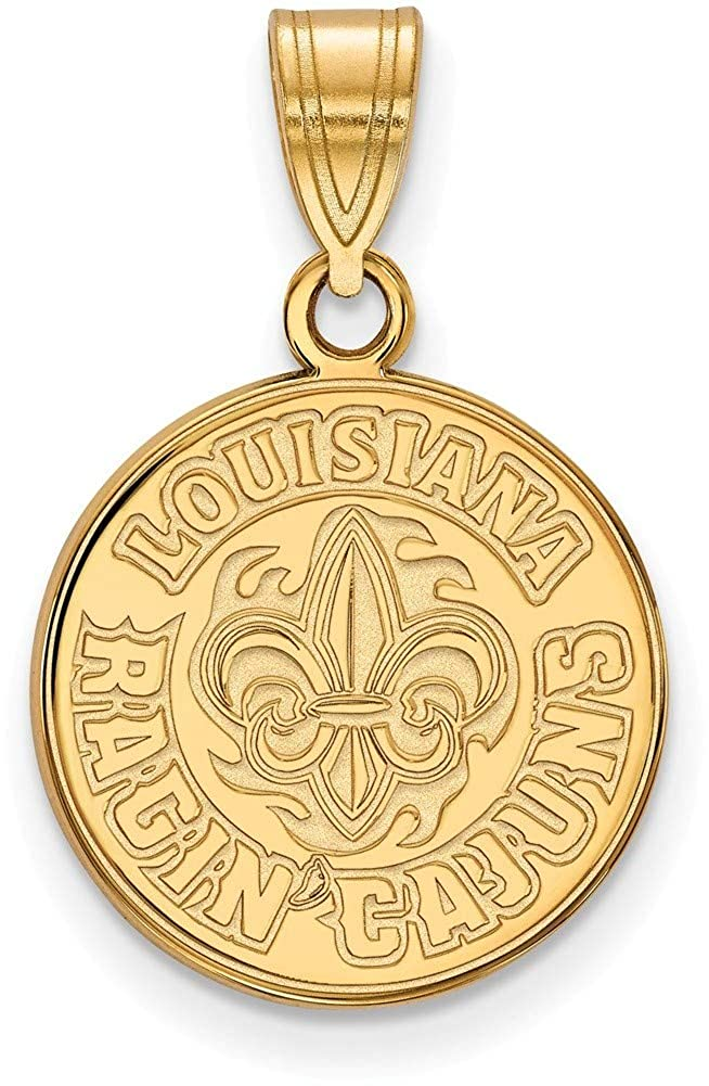 Gold-Plated Sterling Silver U of Louisiana at Lafayette Medium LogoArt Pendant