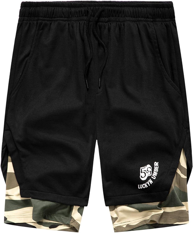 LSSM Pantalones Cortos De Contraste De Camuflaje con Costuras De Verano, Pantalones De Cinco Puntos para Hombres, Deportivos, Informales Y Transpirables Pantalones Vaqueros Cortos