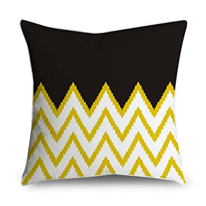Amazon.com: fabricmcc Ikat Chevron rayas negro y amarillo ...