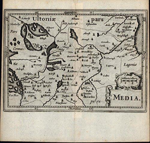County Meath Boyne river Athlone Lough Ree Ireland Eire 1639 Blaeu antique (Blaeu Antique Map)