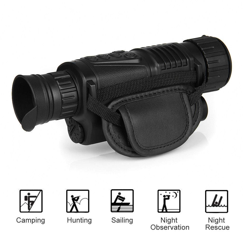 BOBLOV Night Vision Monocular, 5x40 HD Digital Infrared Night Vision Hunting Cameras 850nm Telescope with Camera & Camcorder Function Takes Day and Night IR Photo & Video (Black) by BOBLOV