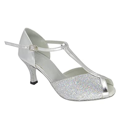 2d685f463f0ec Misu Women's Peep Toe Sandals Latin Salsa Tango Practice Ballroom Dance  Shoes with 2.75
