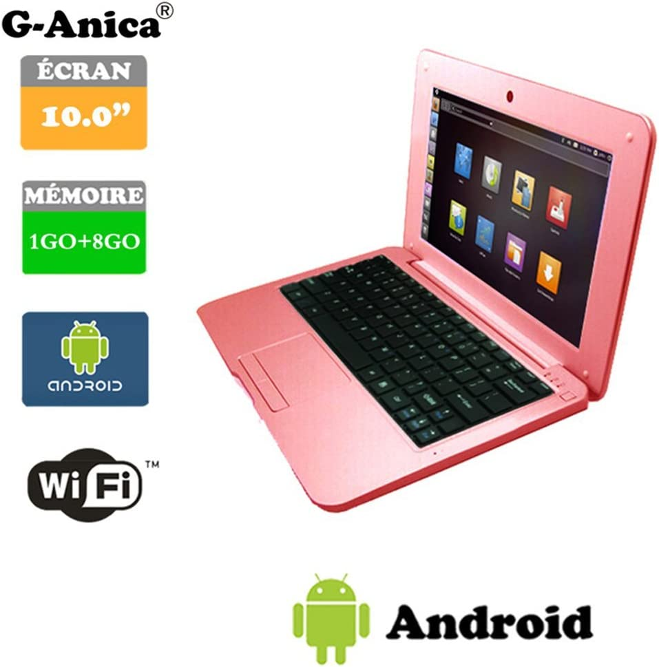 Netbook Laptop Android 4.4 HDMI écr.10 (WiFi-SD-MMC) 1GB RAM + 8GB ROM(Pink)