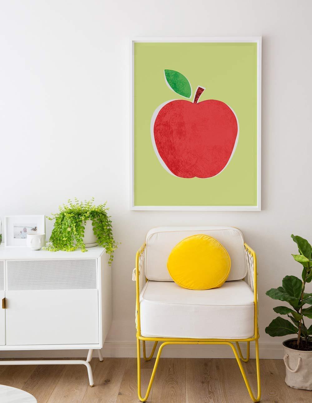 Modern Apple Poster for Kitchen Kids Room Original Art Print Many Sizes Teacher