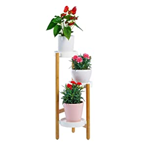 9 Plus 3-Tier Bamboo Plant Rack, Plant Stand Shelf Unit Holder Indoor and Outdoor