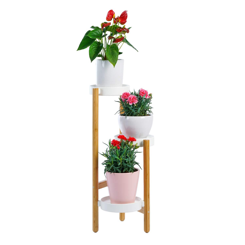 Edencomer Bamboo Plant Stand Wooden Flower Pot Holder, Flower Stands Plant Display Shelf Storage Rack Outdoor Indoor 3 Pots Holder
