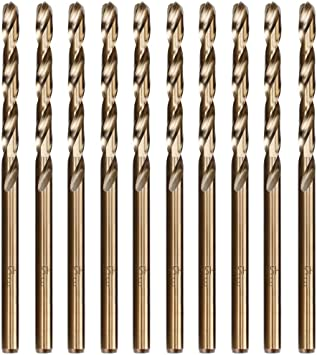 Metric M35 Cobalt Steel Extremely Heat Resistant Twist Drill Bits with Straight Shank Set of 3pcs to Cut Through Hard Metals Such as Stainless Steel and Cast Iron