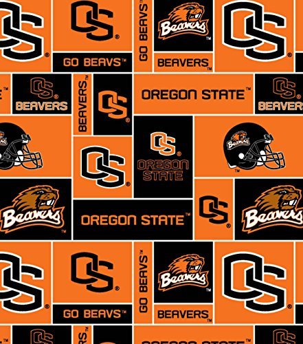 College University of Oregon State Beavers Print Fleece Fabric By the Yard