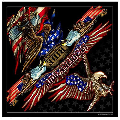 "Hot Leathers Signature Bikers Bandanas Collection Original Design, 21"" x 21"" - BANDANA ATTACK EAGLE, ""Ride American"""
