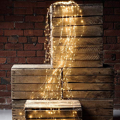 Starry Strands - 2 PCS Waterproof Decorative Waterfall String Lights, 10 Strands 200 LEDs Hanging Twinkle Fairy Lights Battery Operated with Remote Timer Silver Wire Timbo Starry Lights for Outdoor, Garden, Christmas