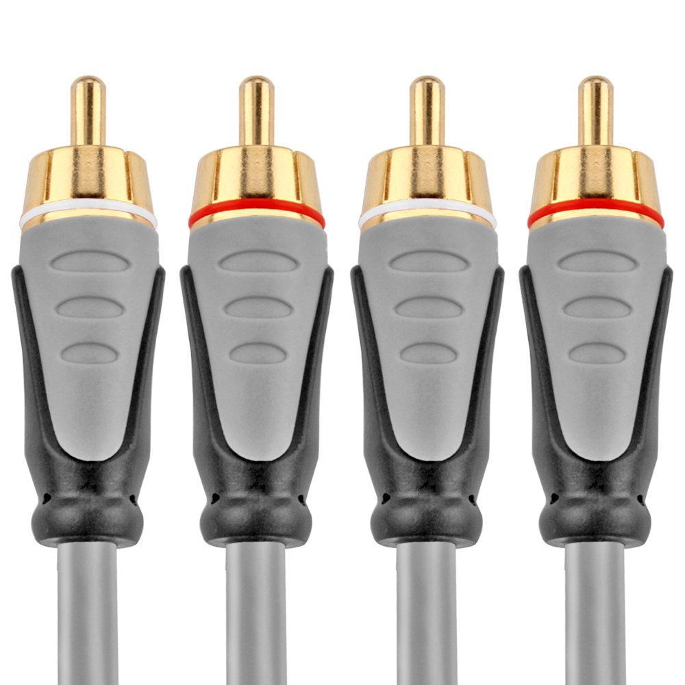 TNP Premium 2RCA Stereo Audio Cable (15 Feet) - Dual Composite RCA Male Connector Plug M/M 2 Channel (Right and Left) Gold Plated Dual Shielded 2RCA to 2RCA Wire Cord