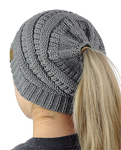 oscuro oscuro de Sombreros cable otoño la cola Knit Beanie Cap para suave mujeres Gris Gris para invierno Messy elástico Ponytail Bun HMILYDYK pañuelo cabeza GUTAILHAT DARKGREY qXgIw45