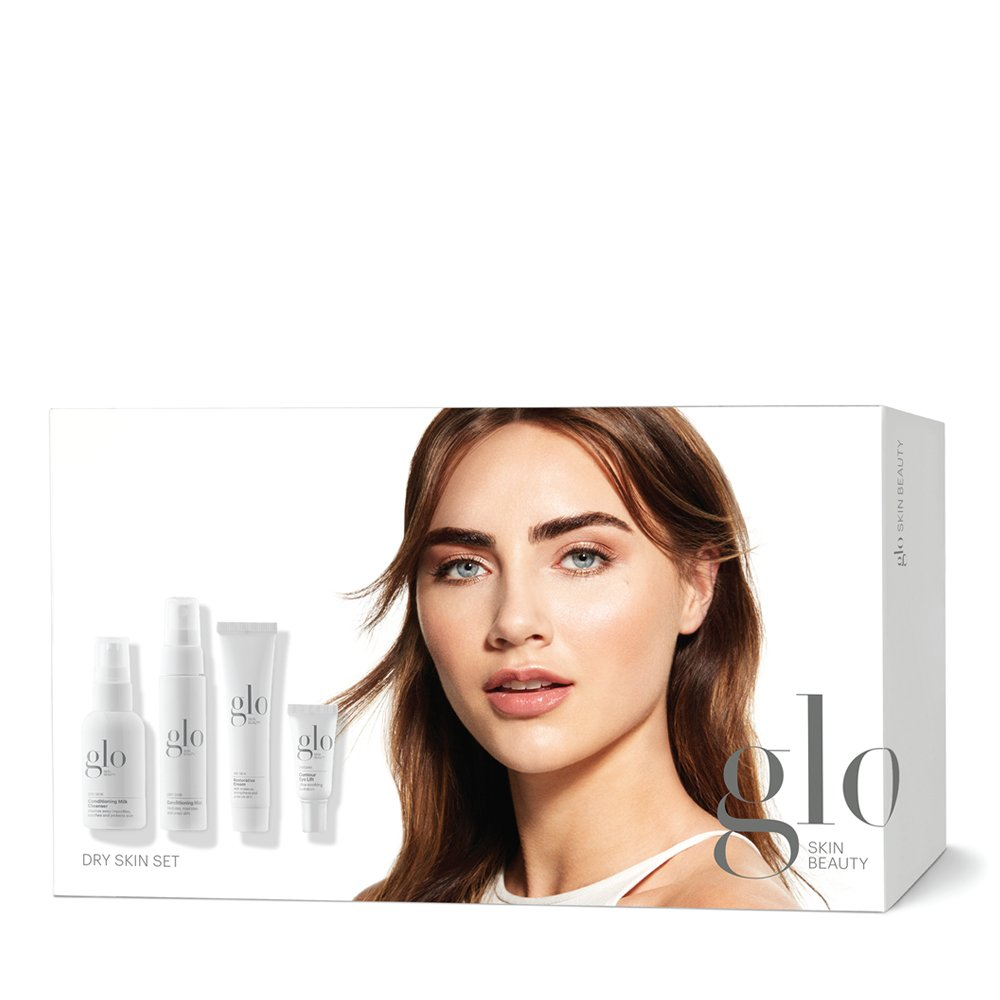 Glo Skin Beauty 4,Piece Travel Skincare Set for Dry Skin , Hydrating Skin Care Kit for Dehydrated, Flaky Skin