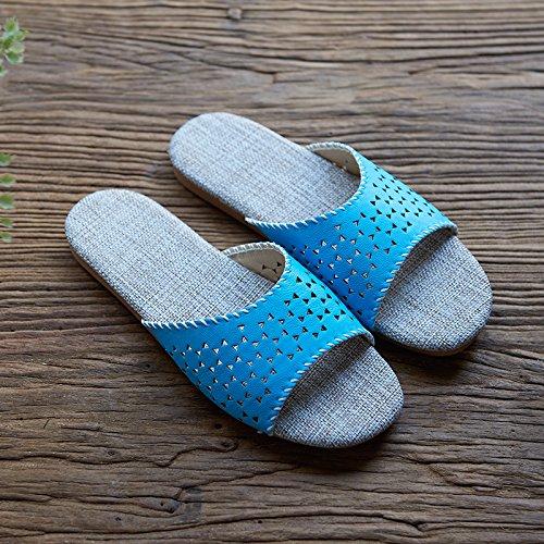Zapatillas de los amantes de la ropa, casa, interior Piso zapatillas,40 y 41 amarillo 38 y 39 días Azul