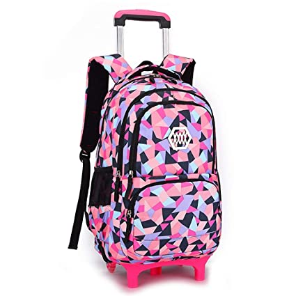 e1ab1dd31201 Image Unavailable. Image not available for. Color  Geromg Removable  Children School Bags Wheels Girls Trolley Backpack Kids schoolbags Wheeled  Bag Bookbag ...