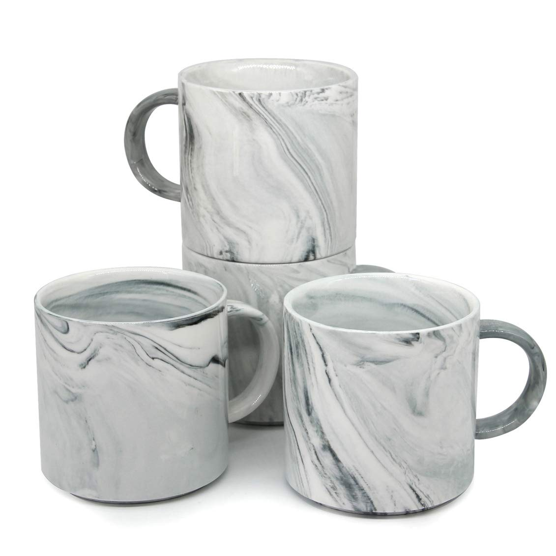 12 oz Stackable Coffee Mugs, Zocokey M101 Novelty Marble Ceramic Cup for Boy Girl lover, Set of 4, Gray