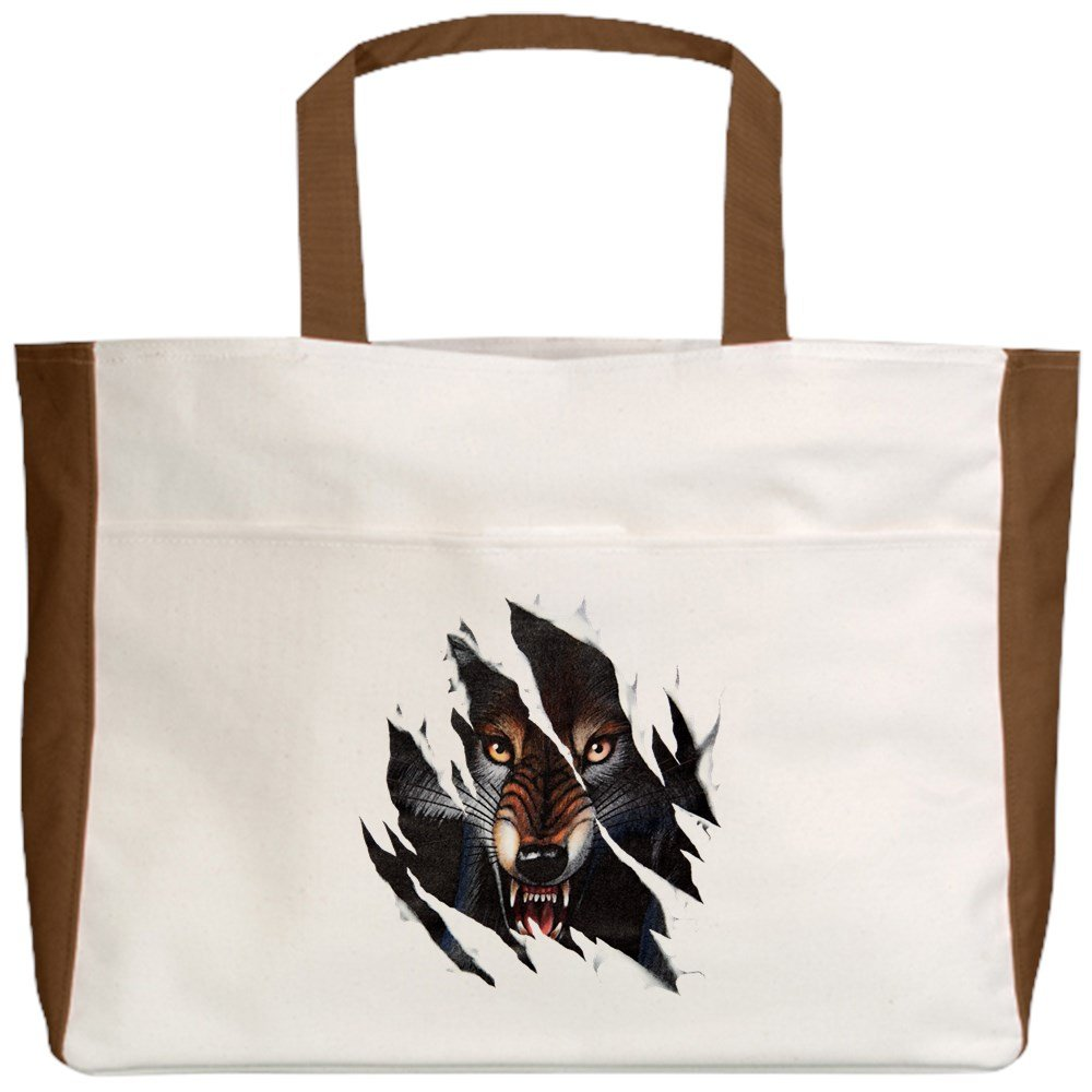 Royal Lion Beach Tote Wolf Rip Out 2-Sided