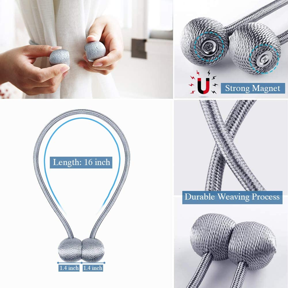 chenyun Magnetic Curtain Tiebacks with Unique Wooden Balls Silver Grey