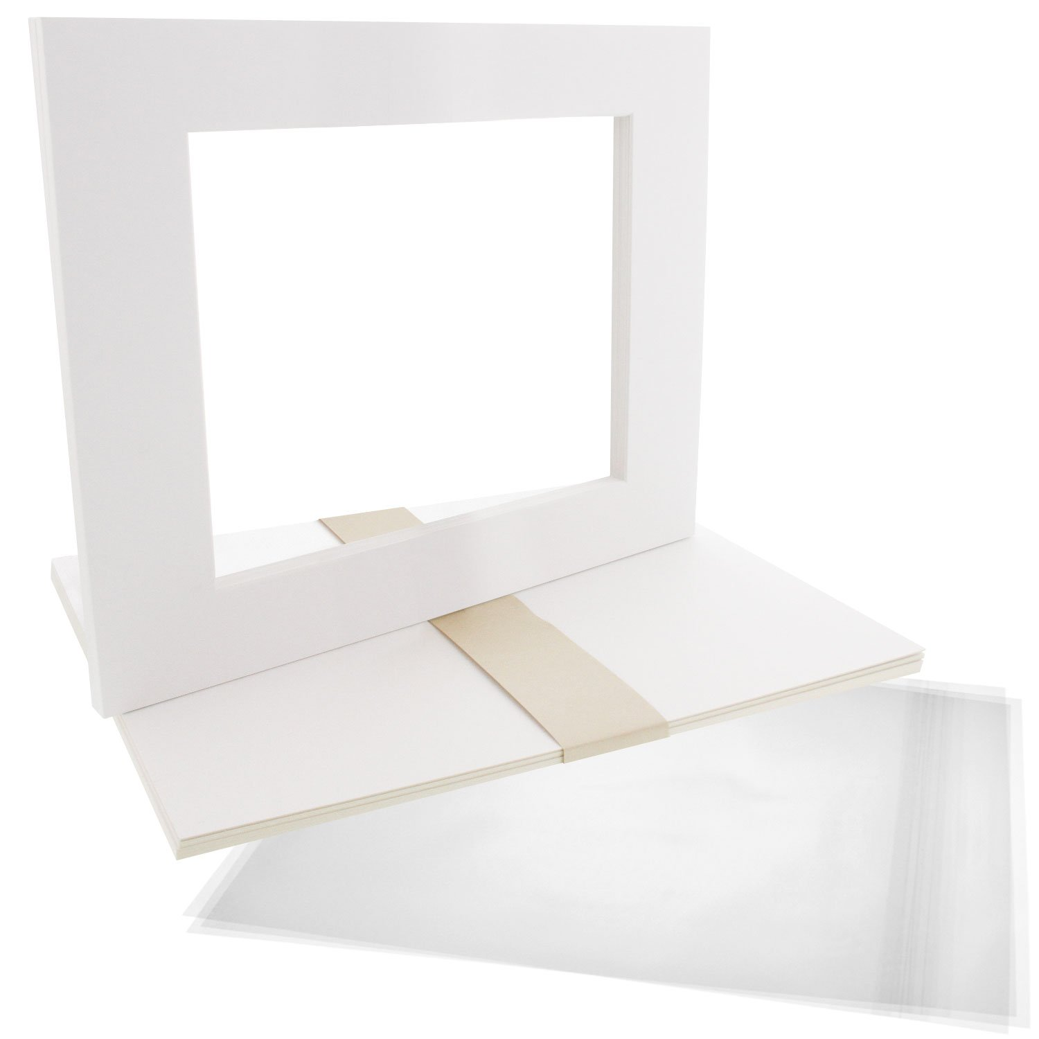US Art Supply Art Mats Acid-Free Pre-Cut 16x20 White Picture Mat Matte Sets. Includes a Pack of 5 White Core Bevel Cut Mattes for 11x14 Photos, Pack of 5 Backers & 5 Clear Sleeves Bags