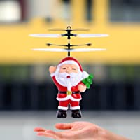 ELECSUM Rc Flying Ball Children Smart Toys Flying Drone Electric Infrared Induction Helicopter Santa Claus Aircraft Built-In Shinning Led Lighting For Christmas Gift