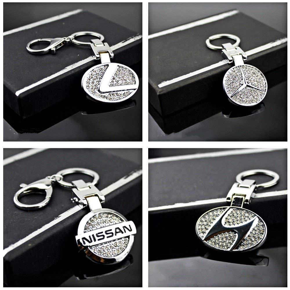 VILLSION 3D Car Keyring Key Holder Double Sided Diamond Logo Zinc Alloy Car Key Chain with Gift Box