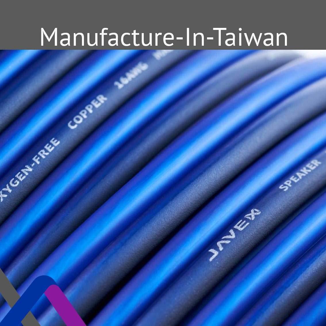 JAVEX Cable de Altavoz de Calibre 14 amplificadores 100FT Cobre Libre de ox/ígeno 99.9/% 2.11 mm2 30.5CM Azul//Negro Cable para Sistemas de Alta fidelidad Cobre Trenzado
