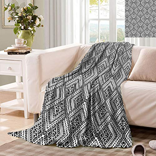 Black and White Customized Blankets, Tribal Rhombuses Abstract Motifs Chevrons Dots and Diamond Shapes Super Soft Minisize Fleece Blankets for Sofa, 50