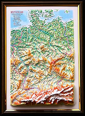 Map Of Germany 3d.Amazon Com 3d Raised Relief Framed Map Of Germany 12 X 9