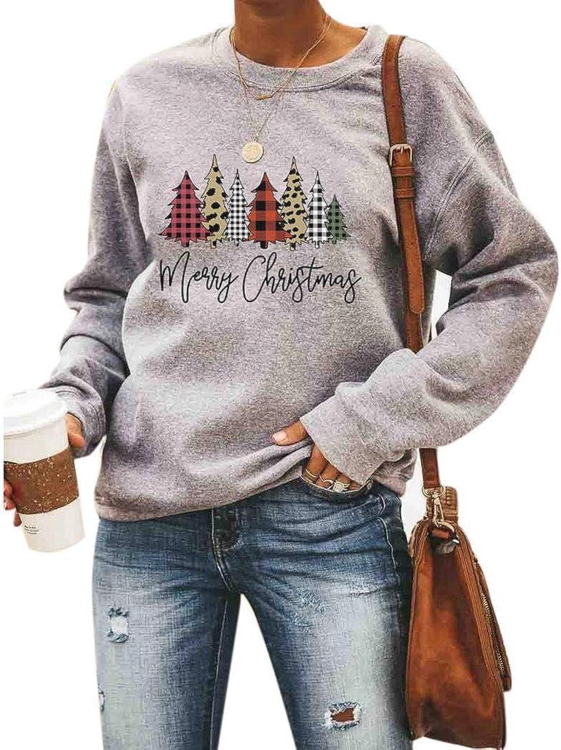 rateim Fashion Women Christmas O-Neck Long Sleeve Letter Prints Sweatshirt Fashion Sweatshirts