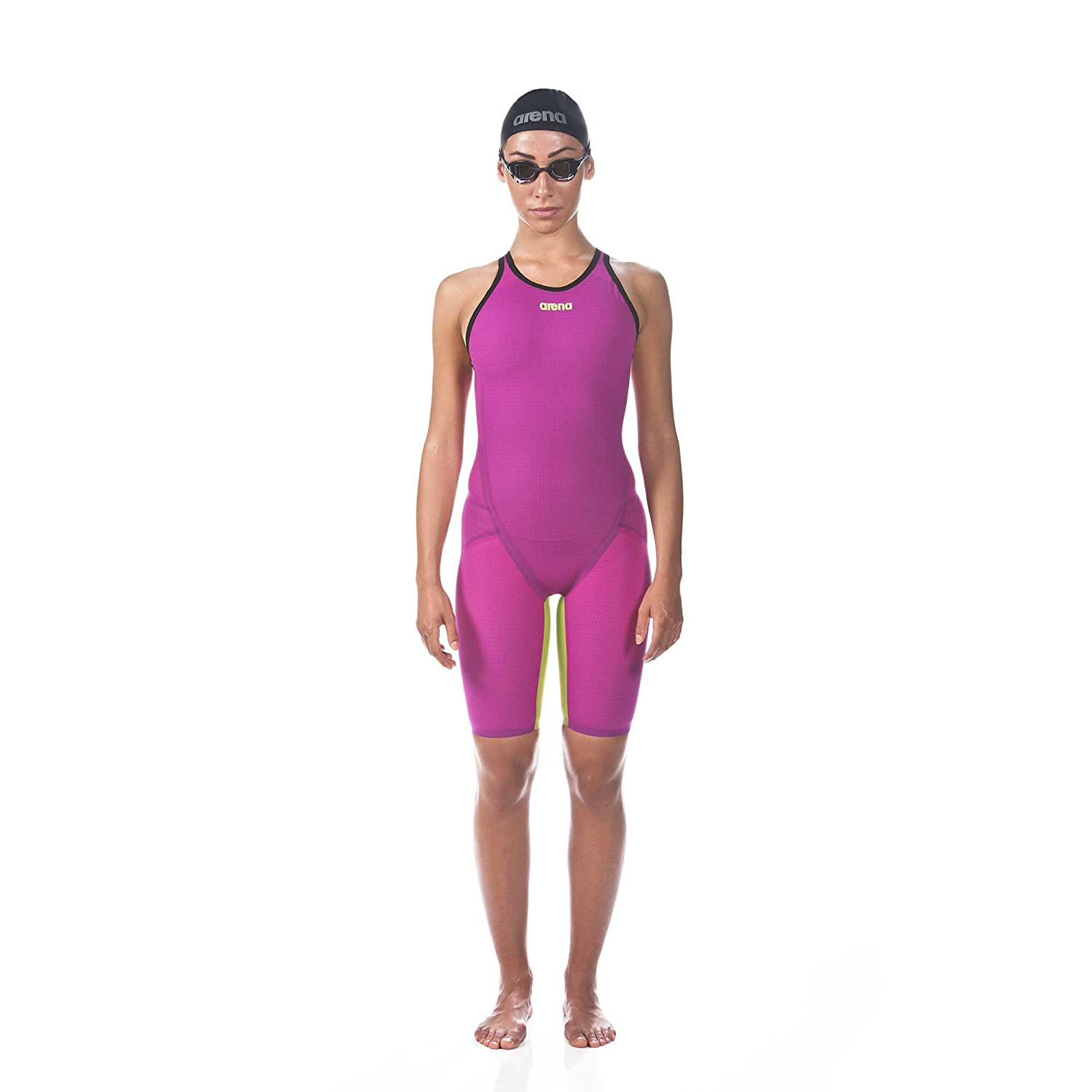 Image of Arena Women's Limited Edition Powerskin Carbon Flex VX Open Back Tech Suit Swimsuit, Fuchsia-Fluo Yellow - 30