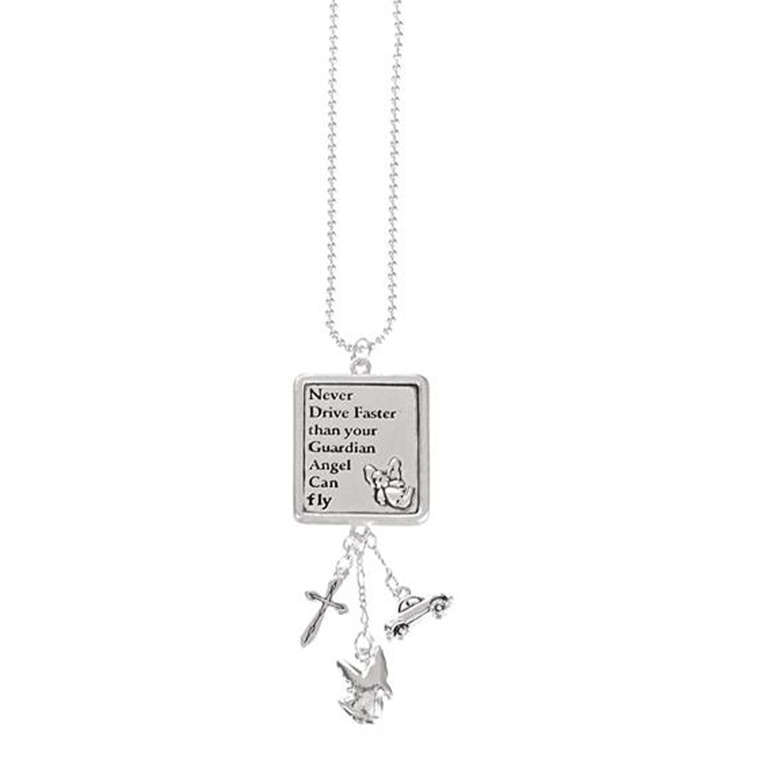 Never Drive Faster Than Your Guardian Angel Can Fly Car Charm Ganz FBA_EG0641