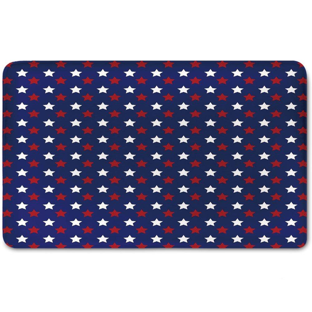 Memory Foam Bath Mat,USA,United States of America Theme Federal Holiday Celebration Revolution Design DecorativePlush Wanderlust Bathroom Decor Mat Rug Carpet with Anti-Slip Backing,Dark Blue Red Whi
