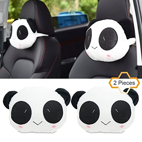 Amazon.com: Reposacabezas de Coche CUTE CARTOON Panda felpa ...